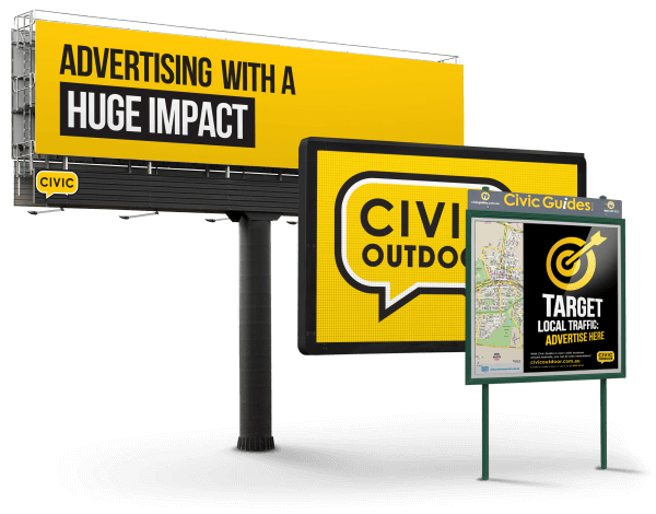 A Civic Outdoor digital and classic billboard beside a Civic Guide